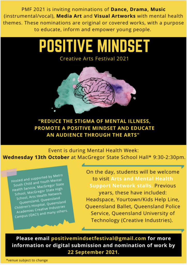 A poster promoting the Positive Mindset Creative Arts Festival 2021. PMF 2021 is inviting nominations of dance, drama, music (instrumental/vocal), media art and visual artworks with mental health themes. These nominations are original or covered works, with a purpose to educate, inform or empower young people. Please email positivemindfestival@gmail.com for more information or digital submission and nomination of work by 22 September 2021.