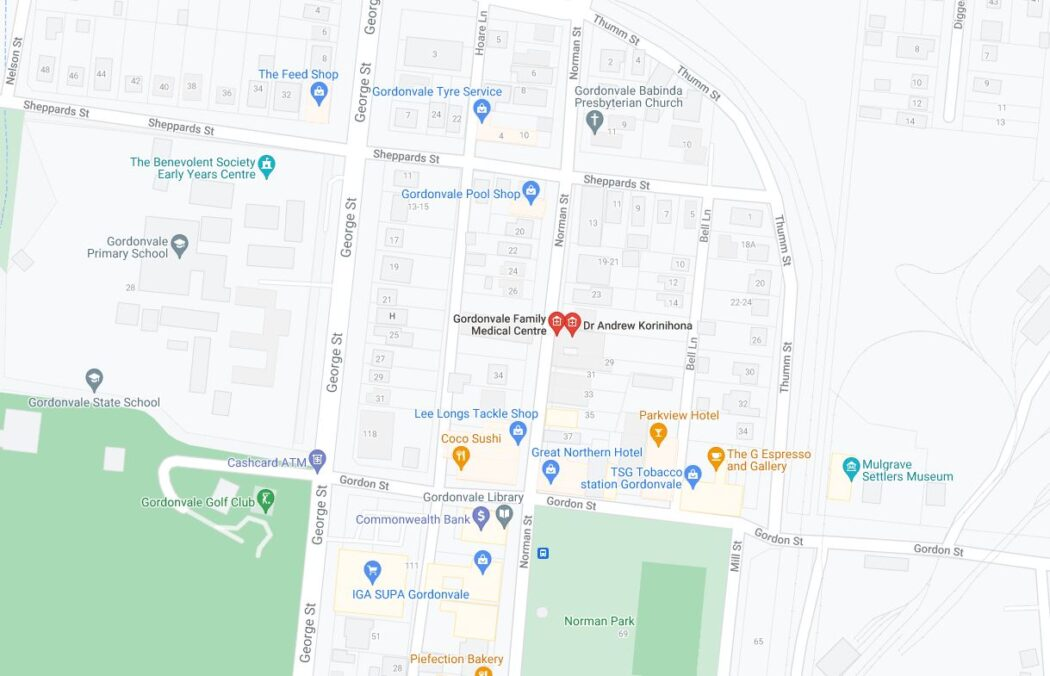 Map of Gordonvale showing the Gordonvale Medical Centre